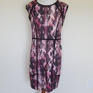 Jennifer Lopez pink snakeskin print dress size 16